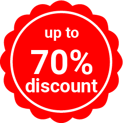 up to 70% discount sticker